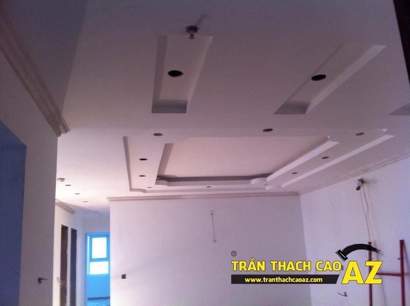 Tạo hình trần thạch cao phòng khách chung cư nhà anh Lân - 02