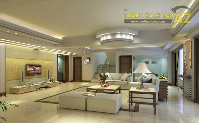 Tan chảy với mẫu trần thạch cao cho phòng khách mới nhất 2017