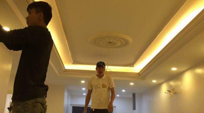 Thi công trần thạch cao cho nhà anh Hải tại Phúc Đồng, Long Biên, Hà Nội