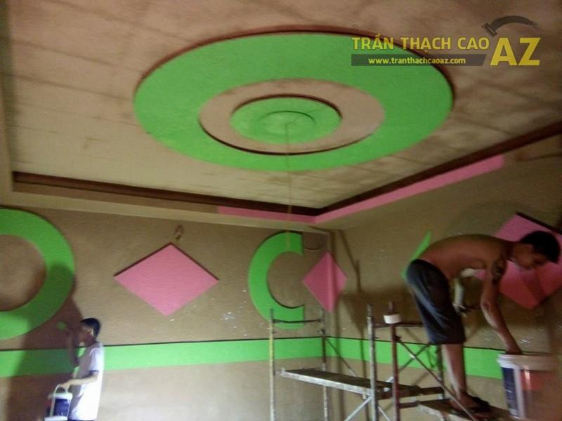 Thi công trần thạch cao phòng karaoke nhà anh Cường thị trấn Thanh Sơn, Phú Thọ