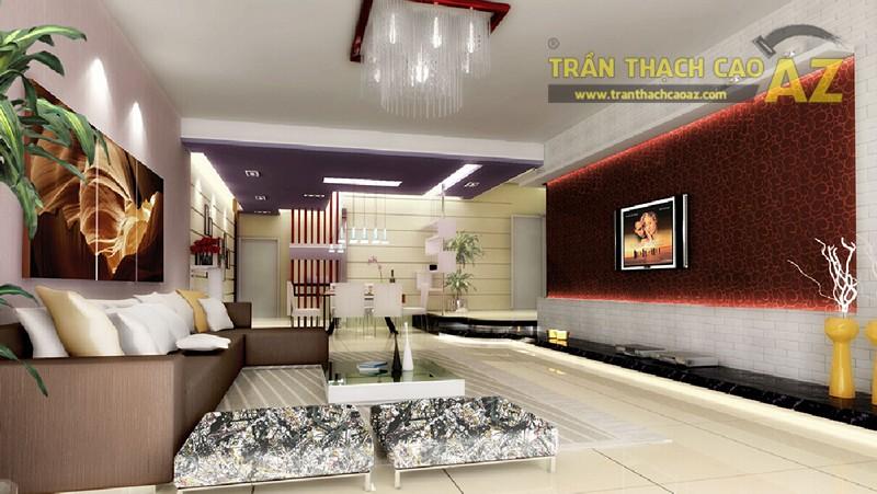 Màu trần thạch cao hài hòa với màu chủ đạo của thiết kế nội thất