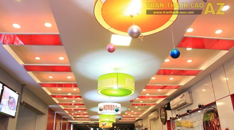 Phối màu trần thạch cao đẹp ấn tượng, bắt mắt như nhà hàng Cơm niêu Singapore, 257 Giảng Võ