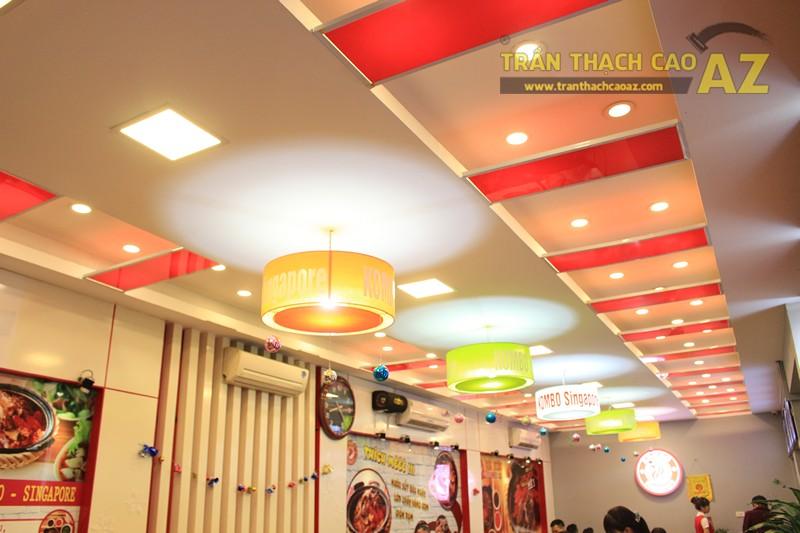 Phối màu trần thạch cao đẹp ấn tượng, bắt mắt như nhà hàng Cơm niêu Singapore, 257 Giảng Võ - 01