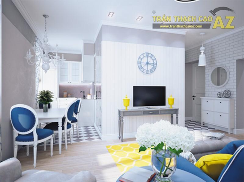 Thiết kế nội thất kết hợp trần thạch cao cho căn hộ chung cư Kiến Hưng