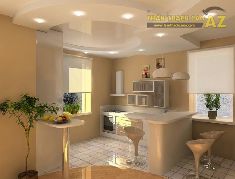 Mẫu thiết kế trần thạch cao giật cấp cho phòng bếp