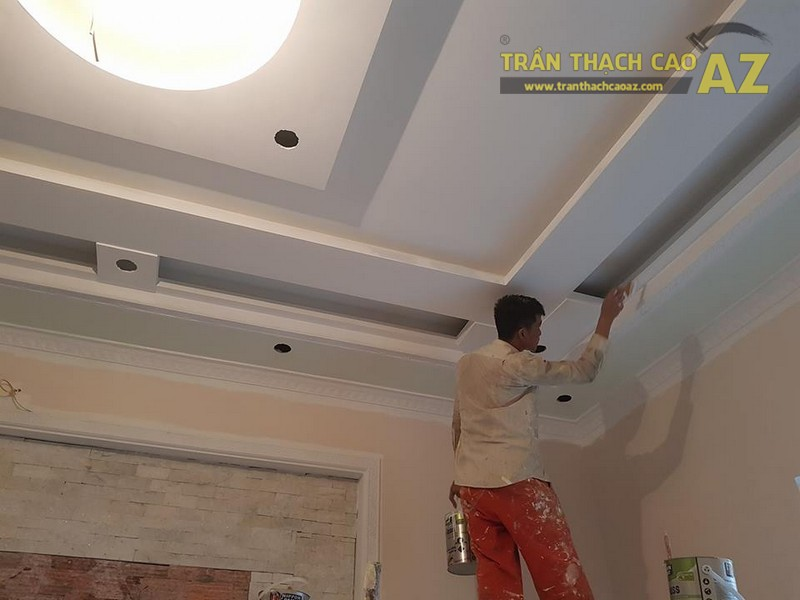 Thi công trần thạch cao cho nhà anh Hải tại An Ninh, Bình Lục, Hà Nam