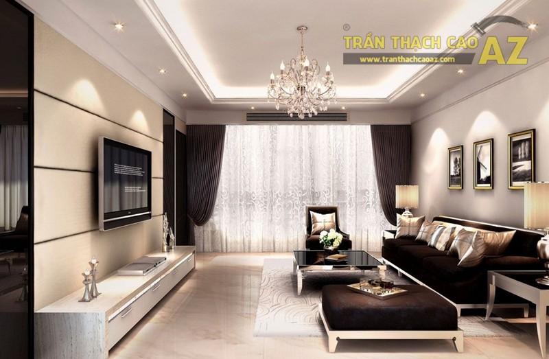 Mẫu trần thạch cao phòng khách đơn giản mà đẹp
