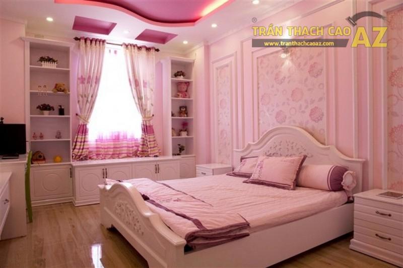Mẫu trần thạch cao lấy gam hồng làm chủ đạo được thiết kế cho phòng ngủ bé gái 4
