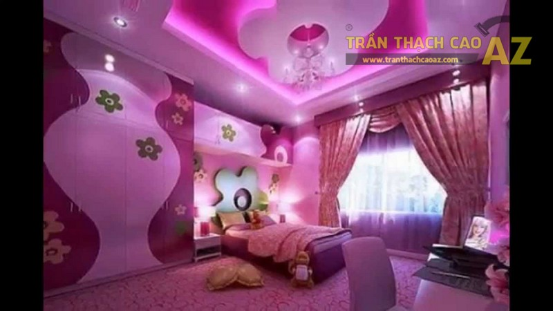 Mẫu trần thạch cao lấy gam hồng làm chủ đạo được thiết kế cho phòng ngủ bé gái 3
