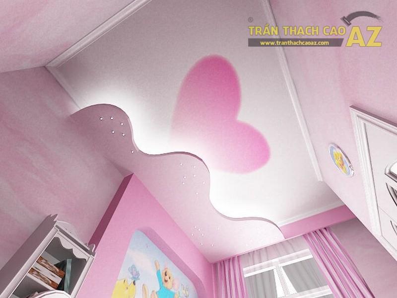 Mẫu trần thạch cao lấy gam hồng làm chủ đạo được thiết kế cho phòng ngủ bé gái 6