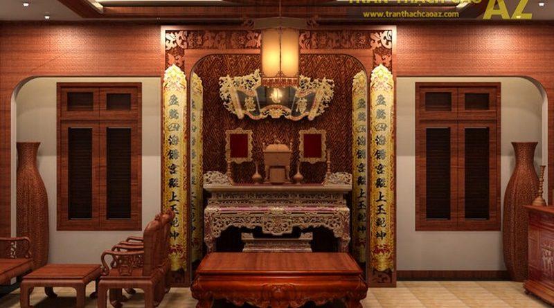 mẫu thiết kế trần thạch cao phòng thờ đẹp nhất