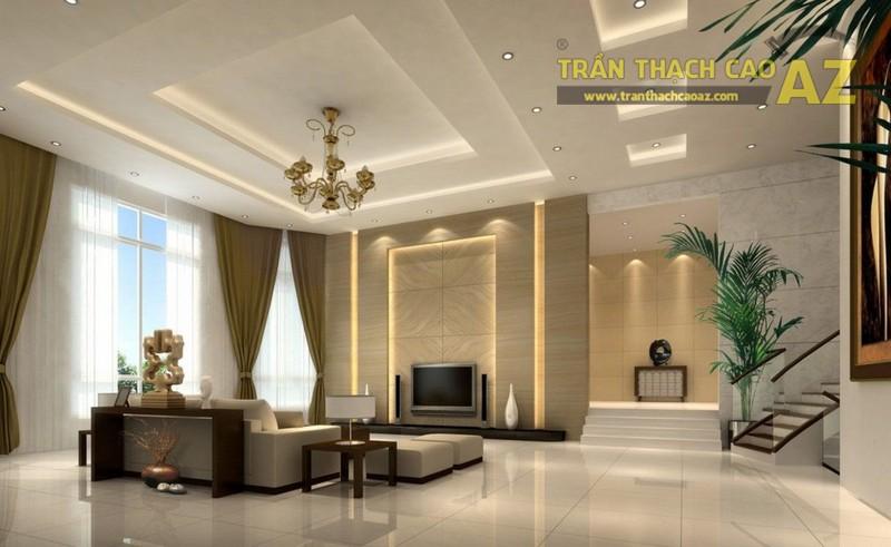 Trần thạch cao phòng khách 2017 được thiết kế theo hơi hướng hiện đại