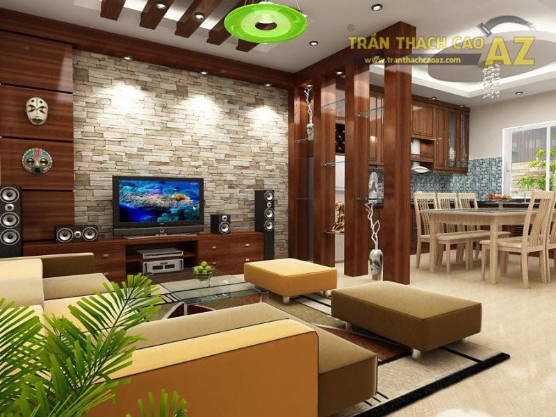 Nghệ thuật phân chia không gian phòng khách bằng vách thạch cao
