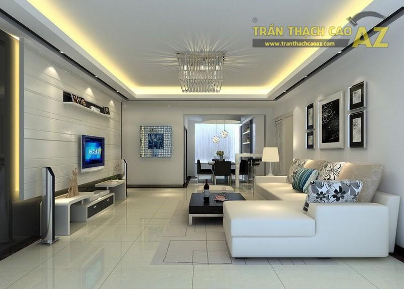 10+ mẫu trần thạch cao phòng khách nhà ống đẹp lung linh - 01