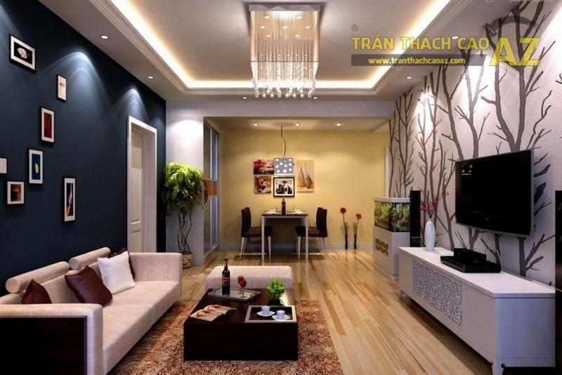 10+ mẫu trần thạch cao phòng khách nhà ống đẹp lung linh - 09