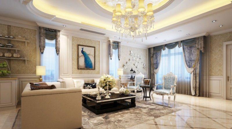 Thiết kế trần thạch cao phòng khách mang hơi hướng cổ điển chưa bao giờ lỗi mốt
