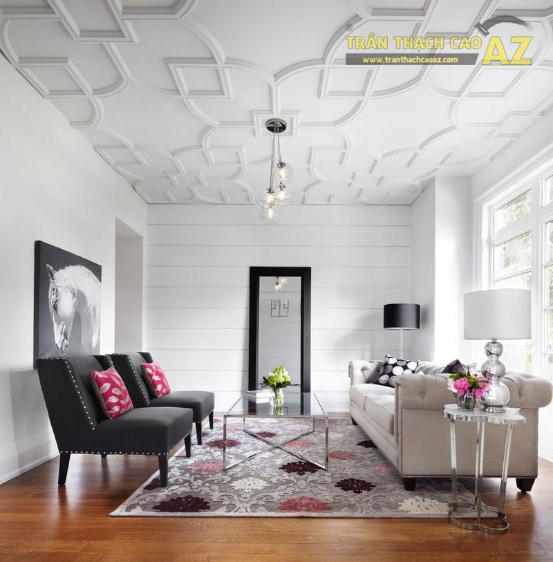 10+ mẫu trần thạch cao phòng khách nhà ống đẹp lung linh - 04