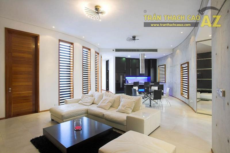 Trần phẳng - xu hướng thiết kế trần thạch cao phòng khách lên ngôi trong 2018 - 01