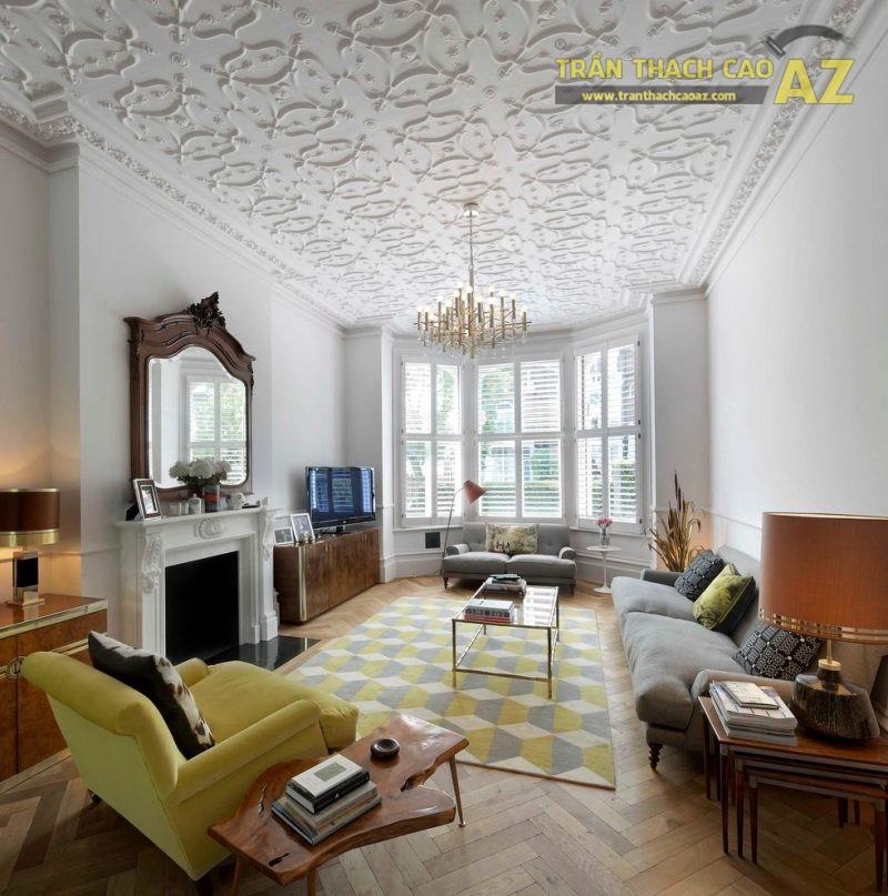 Trần phẳng - xu hướng thiết kế trần thạch cao phòng khách lên ngôi trong 2018 - 02
