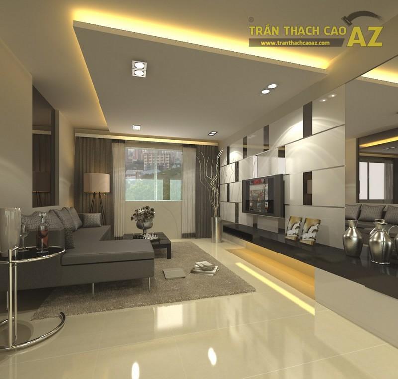 10+ mẫu trần thạch cao phòng khách nhà ống đẹp lung linh - 06