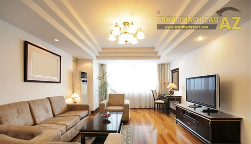10+ mẫu trần thạch cao phòng khách nhà ống đẹp lung linh - 03