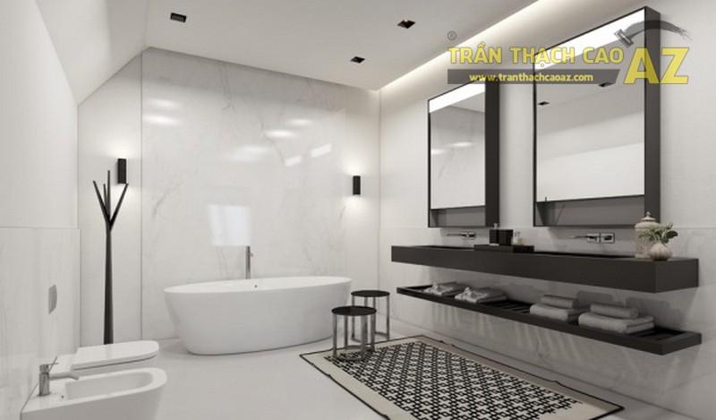 Sử dụng tấm thach cao chịu nước đảm bảo sự bền đẹp cho trần thạch cao nhà tắm