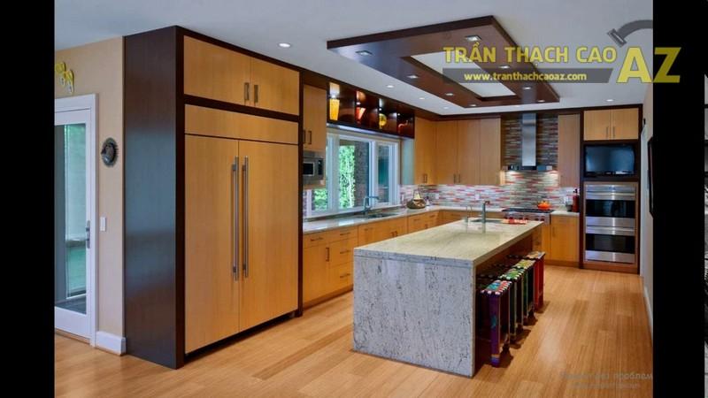 Mẫu trần thạch cao phòng bếp phong cách hiện đại 2017