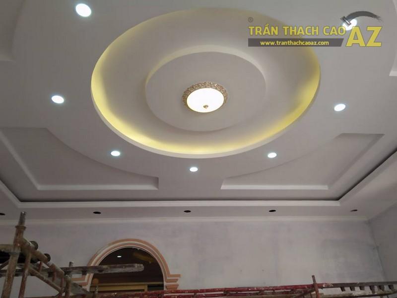 Thi công trần thạch cao phòng khách cho nhà anh Cường, Cầu Giấy, Hà Nội