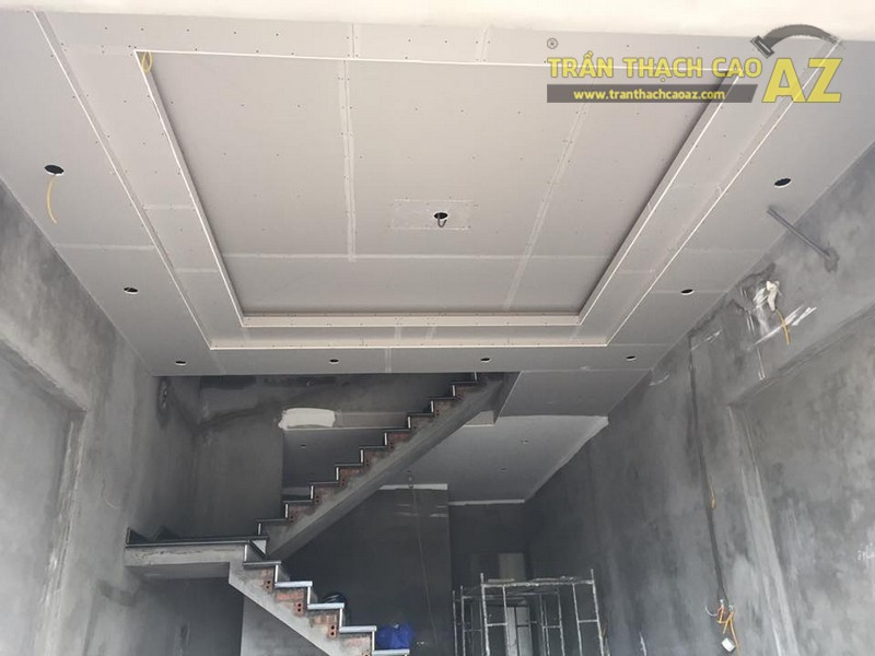 Thi công trần thạch cao cho nhà cô Nhung, Sóc Sơn, Hà Nội