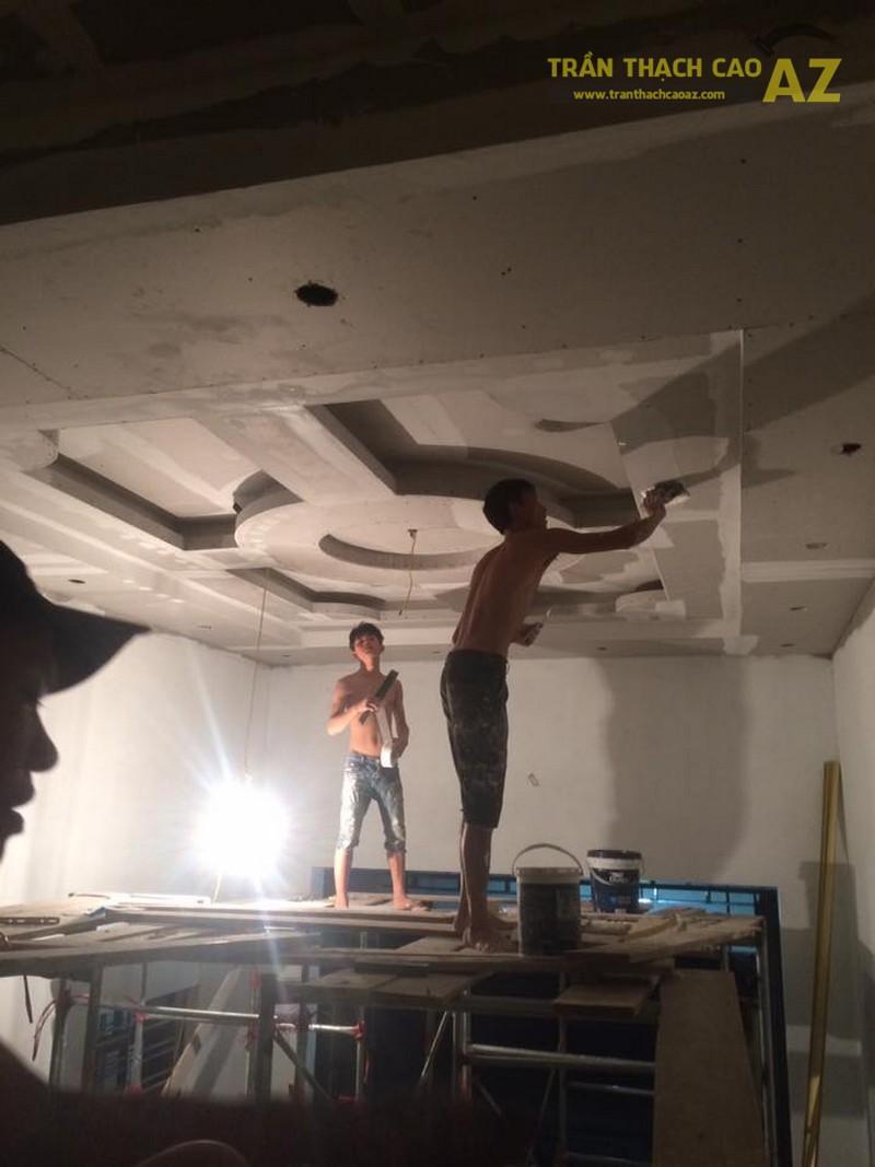 Thi công trần thạch cao phòng khách cho nhà anh Tấn, Mai Dịch, Cầu Giấy