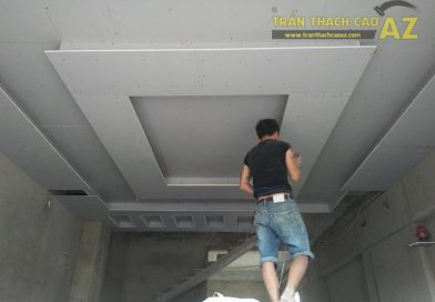 Thi công trần thạch cao phòng khách cho nhà anh Dư, Cầu Giấy, Hà Nội