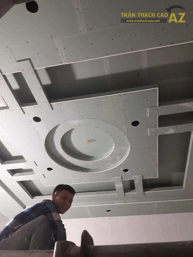 Thi công trần thạch cao phòng khách cho nhà anh Lâm, Sóc Sơn, Hà Nội