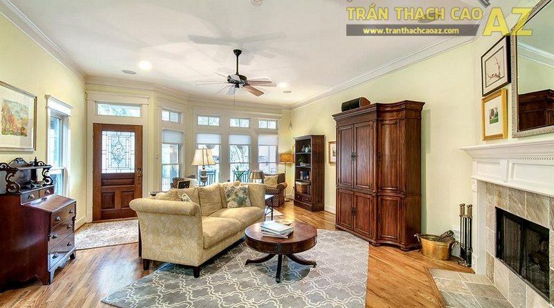 12 mẫu trần thạch cao phòng khách có quạt trần đẹp khó cưỡng - 10