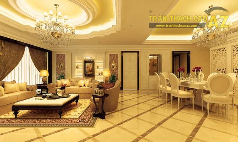 Trần thạch cao phòng khách hiện đại theo lối thiết kế tân cổ điển đẹp hút hồn
