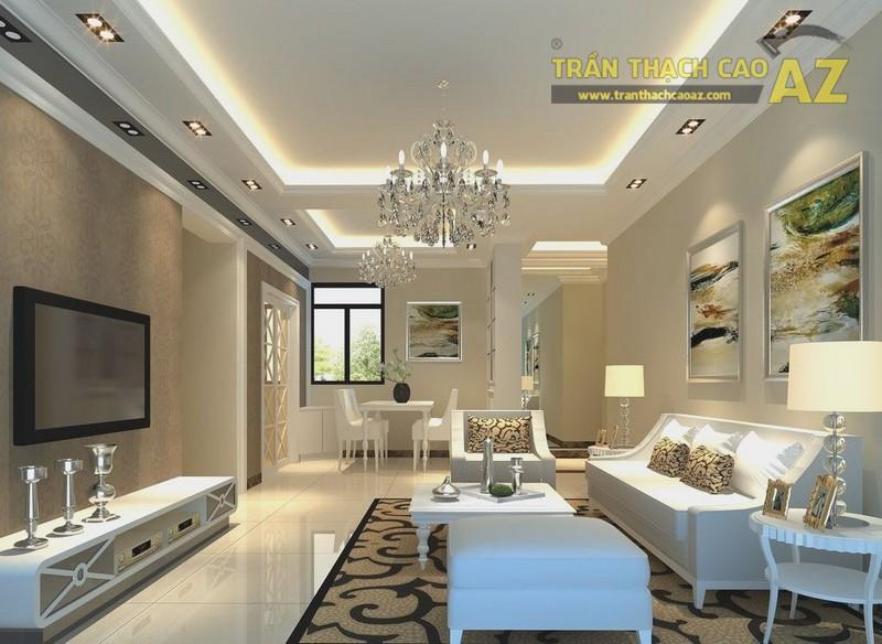 Trần thạch cao phòng khách hiện đại cho không gian nhỏ - 04
