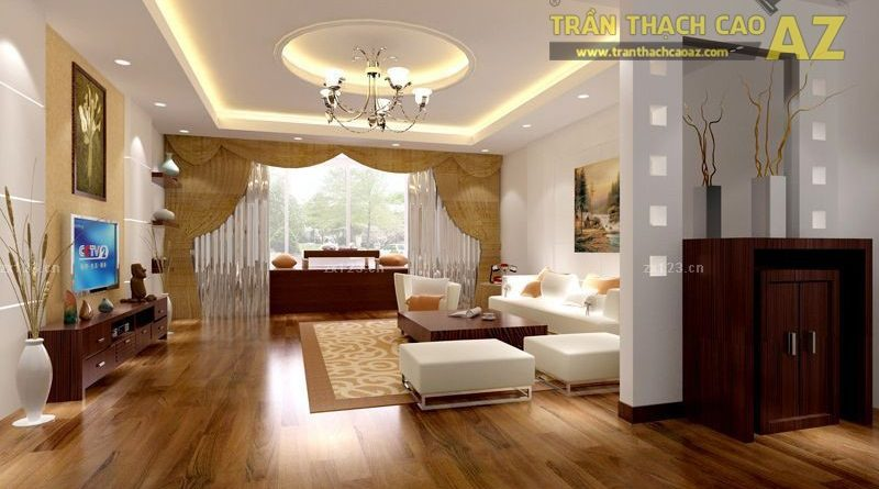 Trần thạch cao phòng khách hiện đại cho không gian nhỏ