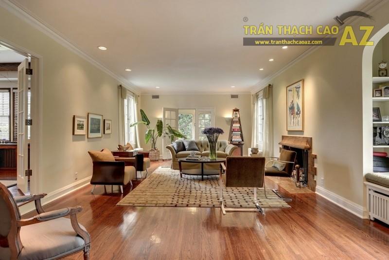 """Trần phẳng, xu hướng thiết kế trần thạch cao phòng khách """"lên ngôi"""" 2019"""