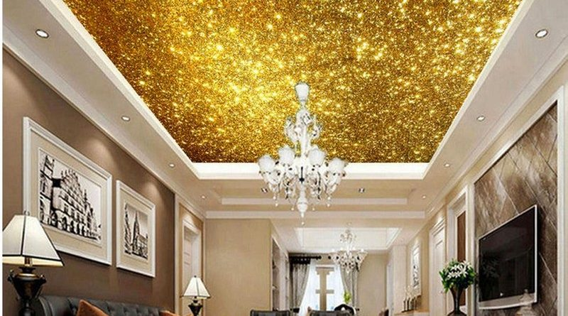 Trần thạch cao phòng khách sơn nhũ vàng nổi bần bật 2019