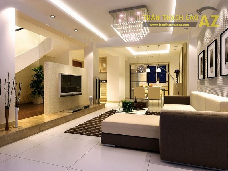 Trần thạch cao phòng khách hiện đại cho không gian nhỏ - 03