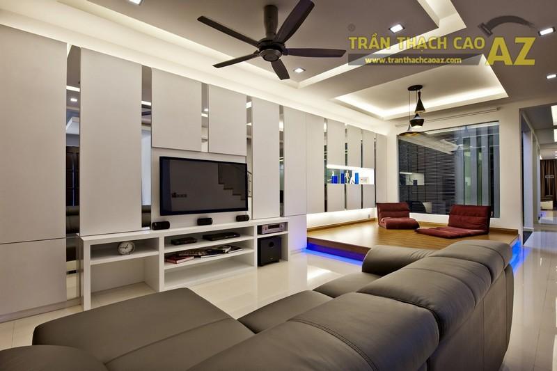 Trần thạch cao phòng khách hiện đại giật cấp hình khối độc đáo - 01
