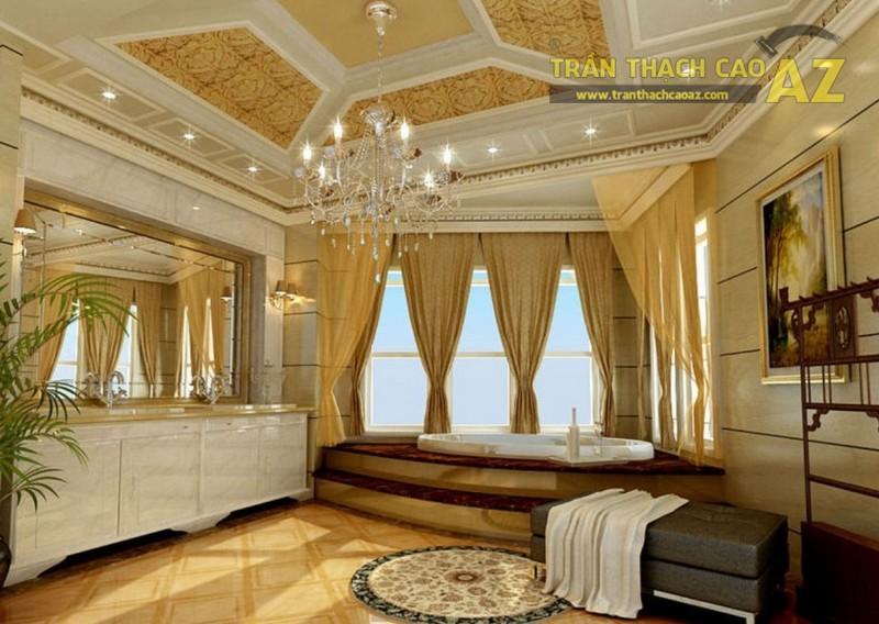 Trần thạch cao phòng khách hiện đại theo lối thiết kế tân cổ điển vô cùng sang chảnh