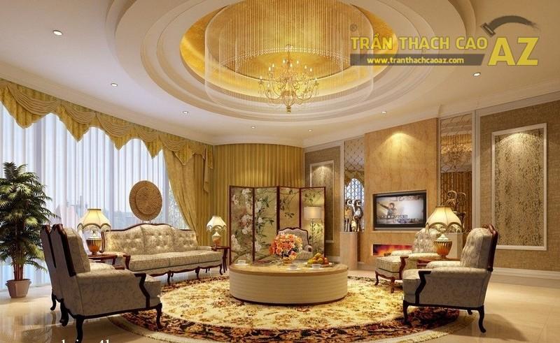 Trần thạch cao phòng khách hiện đại theo lối thiết kế tân cổ điển vô cùng sang trọng