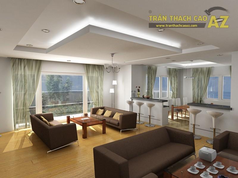 Trần thạch cao phòng khách hiện đại giật cấp hình khối độc đáo - 05