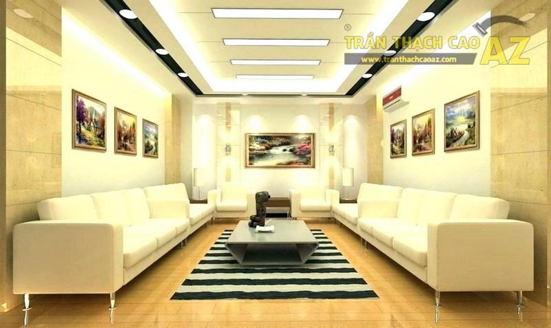 Trần thạch cao phòng khách hiện đại giật cấp hình khối độc đáo - 06