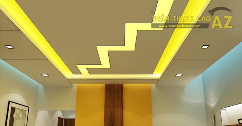 Mẫu trần thạch cao giật cấp đơn giản cho phòng khách nhỏ - 02