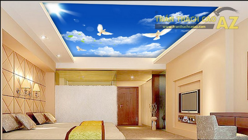Trần thạch cao phòng khách hiện đại khi kết hợp với tranh 3d