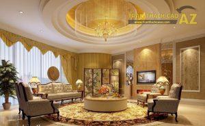 Trần thạch cao phòng khách dành cho Biệt thự - 02