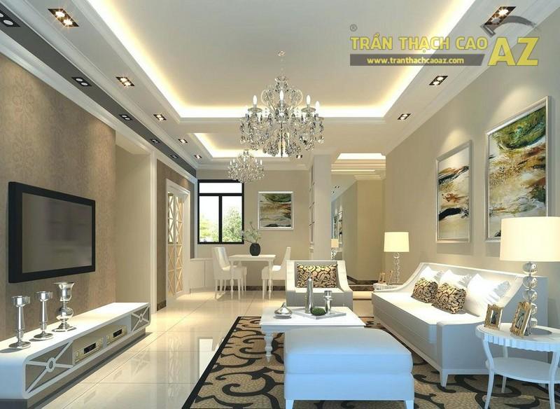 Mẫu trần thạch cao phòng khách 2019 kiểu giật cấp có giá dưới 10 triệu - 06