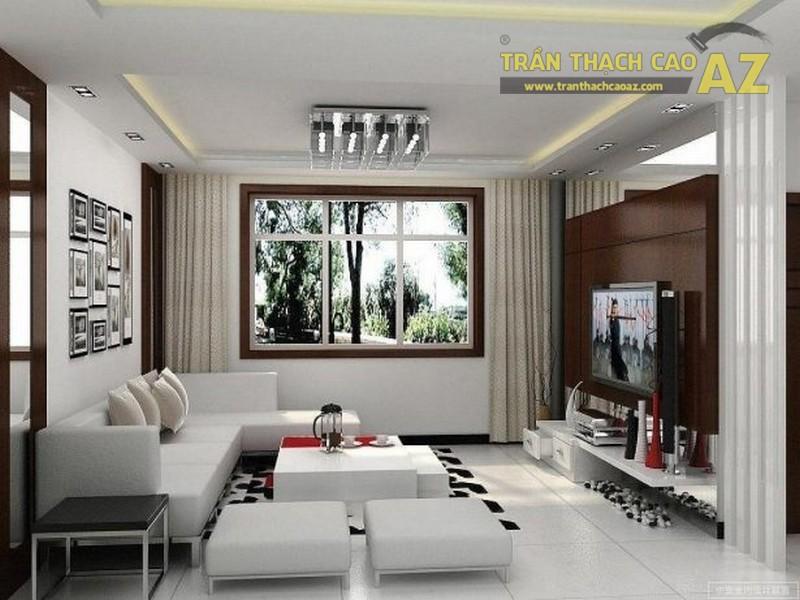 Mẫu trần thạch cao đơn giản cho phòng khách nhỏ