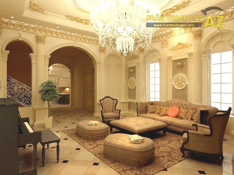 Trần thạch cao phòng khách tân cổ điển tuyệt đẹp cho biệt thự